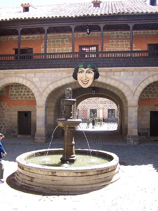 Bolivia square fountain face