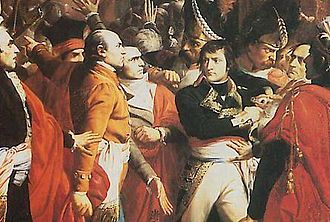 Assassination attempts on Napoleon Bonaparte - General Bonaparte during the coup d'état of 18 Brumaire in Saint-Cloud, painting by François Bouchot, 1840