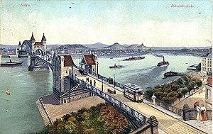 Trams in Bonn - Postcard, dated 22 March 1915, showing a tram on the Bonn Rheinbrücke (Rhine bridge).