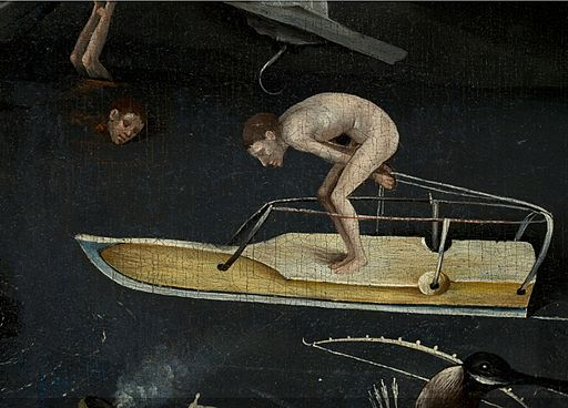 Bosch, Hieronymus - The Garden of Earthly Delights, right panel - Detail man ice-skating on large ice skate (mid-right)