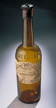 Bourbon bottle, 19th century.