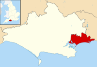 Bournemouth, Christchurch and Poole unitary authority shown within Dorset