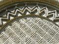 Brignancourt (95), église Saint-Pierre-aux-Liens, portail principal, tympan et bâtons brisés.JPG