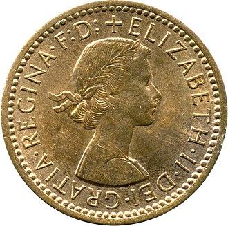 Farthing (British coin) - Image: Britfarthing 1954obv
