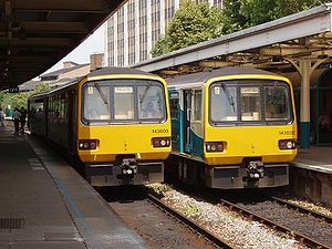 Rail transport operations - Two British Rail Class 143 DMUs at Cardiff Queen Street station in the United Kingdom. Both trains are operated by Arriva Trains Wales.