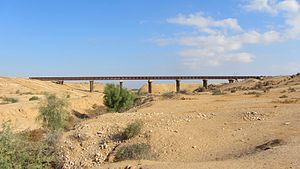 Palestine Railways - Railway bridge over  Nahal Ofakim north of Beer-Sheba.