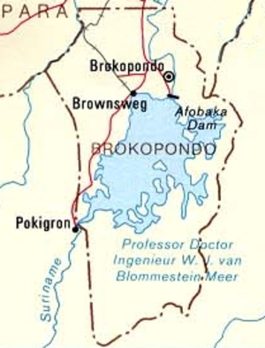 Brokopondo Reservoir - A map showing the location of the Brokopondo Reservoir and its Dutch name.