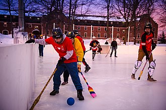 Michigan Technological University - Michigan Tech students playing broomball