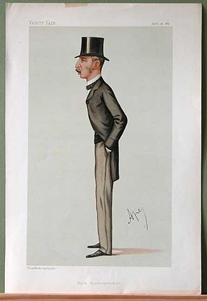 "Brownlow Cecil, 4th Marquess of Exeter - ""North Northamptonshire"". Caricature by Ape published in Vanity Fair in 1887."