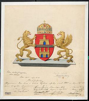Coat of arms of Budapest - Image: Budapest elfogadott címerterve Fridrich Lajos 1873