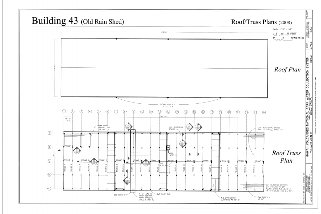 File:Building 43 (Old Rain Shed), Roof Plan, Roof Truss Plan