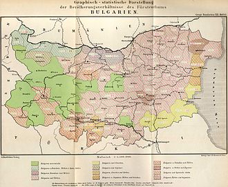 Vlachs in Bulgaria - Ethnic map of Bulgaria according to the census results from 1892 (Blue denotes regions with a Romanian minority)
