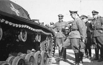 1st SS Panzer Division Leibstandarte SS Adolf Hitler - Heinrich Himmler inspecting a Sturmgeschütz III of the 1st SS Division, Metz, September 1940