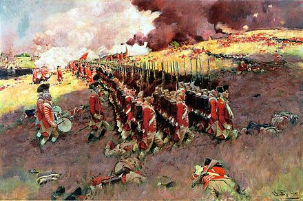 The Battle of Bunker Hill, Howard Pyle, 1897, showing the second British advance up Breed's Hill.  The whereabouts of this painting are unknown since it was lost or more likely stolen from the Delaware Art Museum in 2001.[3]
