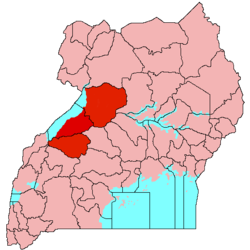 Location of Bunyoro (red) in Uganda (pink)
