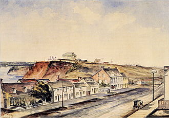 "Ottawa - Bytown in 1853. Military Barracks on hill top was occupied by ""A"" Company of the Royal Canadian Rifle Regiment, presently home to Parliament Hill."