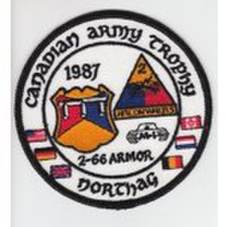2nd Armored Division (United States) - 2–66th Armor's 1987 Canadian Army Trophy uniform patch.