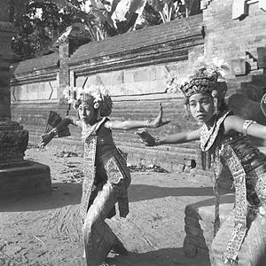 Balinese dance - Two legong dancers in Bali. 1953
