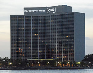 CSX Corporation - The CSX building, Jacksonville, FL, US, at night