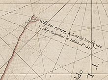 "Caert van't Landt van d'Eendracht (detail showing Willems River) - Chart by Hessel Gerritsz, also written ""Hessel Gerritszoon""."