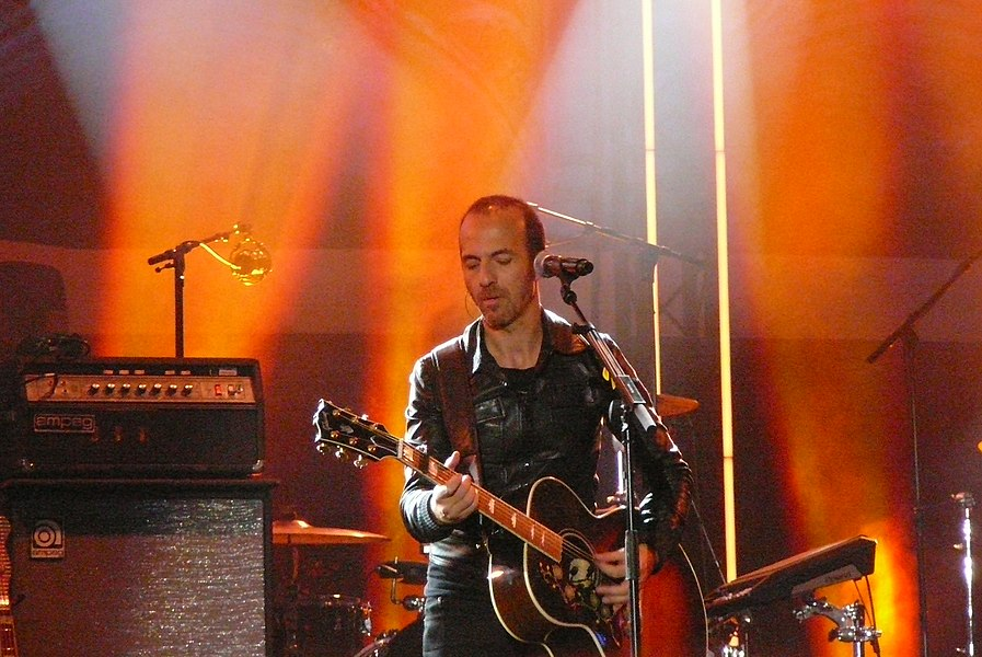 Singer Calogero on stage on the Grand-Place in Brussels (Belgium), on September 26, 2014, for the Feast Day of the French Community.