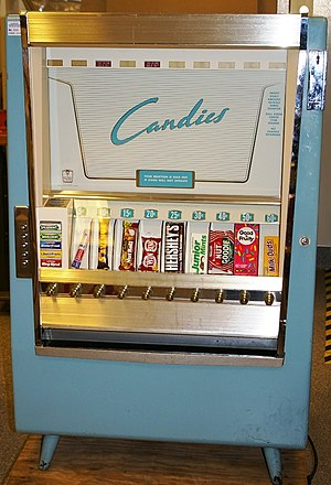Vending machine - A snack food vending machine made in 1952