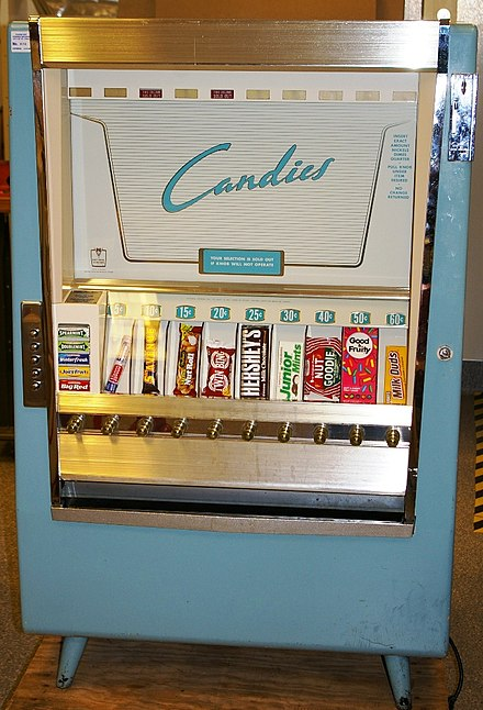 A snack food vending machine made in 1952 CandiesVendingMachine1952.jpg