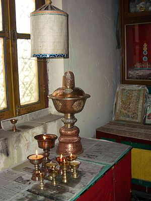 Prayer wheel - Butter-lamp-powered prayer wheel. Manali, India