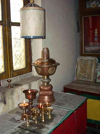 Prayer wheel - Butter-lamp-powered prayer wheel. Manali, India