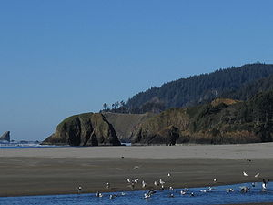Cannon Beach, Oregon - Looking northwest up the beach
