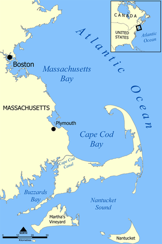 Cape Cod Bay - A map showing the location of Cape Cod Bay.