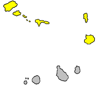 Barlavento Islands - Barlavento islands (yellow) within Cape Verde