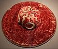 Cappello da cardinale da parata, 1450-1500 ca., in velluto, ricamato in seta, cordonetto d'oro, oro filato, lino e paglia (fi, musei civici, depositi) 01.jpg