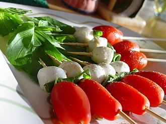 Caprese salad - Image: Caprese salad skewer appetizers