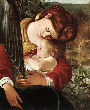 Penitent Magdalene (Caravaggio) - The same model may have served as the Virgin Mary in Rest on the Flight into Egypt