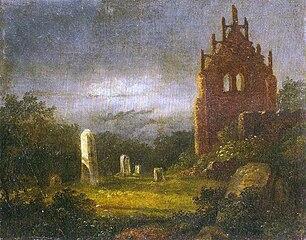 carl Gustave Carus: Klosterruine im Mondlicht 1818