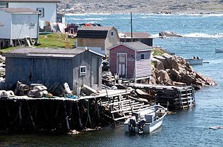 Fishing stage wooden vernacular building associated with the cod fishery in Newfoundland, Canada