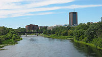 Carleton University as seen from the Rideau River