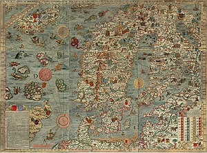 Denmark–Norway - Carta marina, an early map of the Nordic countries, made around end of Kalmar Union and start of Denmark–Norway