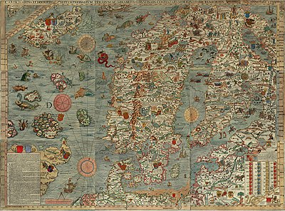Carta marina, an early map of the Nordic countries, made around the end of the Kalmar Union and the start of Denmark-Norway Carta Marina.jpeg
