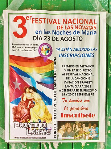 Poster of a transvestite festival organised by the Grupo de Mujeres Lesbianas y Bisexuales (Group of Lesbian and Bisexual Women) in Santa Clara. Cartel grupo mujeres LGBT Villa Clara.jpg
