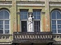 Caryatids and wrought iron balcony on consoles. Listed dwelling house ID 3922. Romantic, circa 1860. - 5, Vörösmarty Square., Székesfehérvár, Fejér county, Hungary.JPG