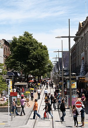 City Mall, Christchurch - The Cashel Street part of City Mall looking west as seen from Colombo Street in 2009