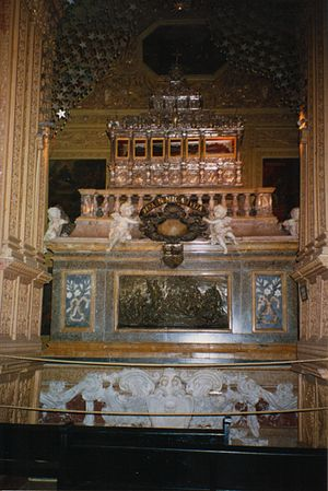 Body of Saint Francis Xavier in a silver caske...
