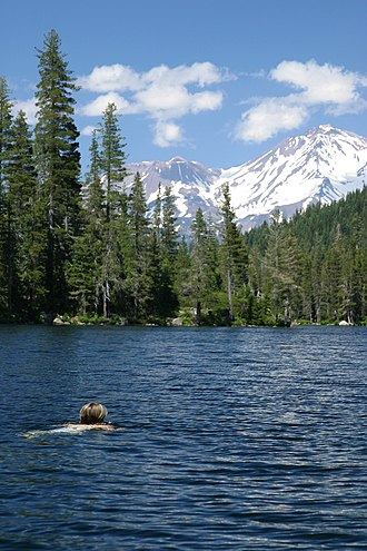 Castle Lake (California) - Swimmer with Mount Shasta in distance
