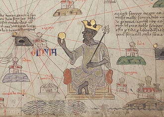 Musa I of Mali - Musa depicted holding a gold coin from the 1375 Catalan Atlas.