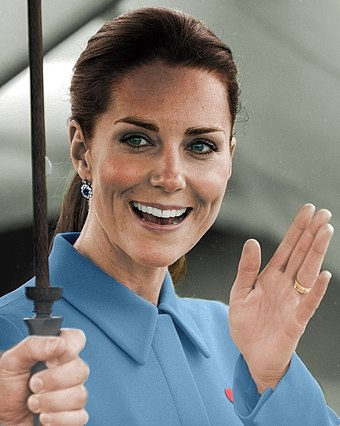 HRH The Duchess of Cambridge, granddaughter-in-law of the Queen Catherine Elizabeth Middleton (colorized).jpg