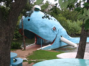 U.S. Route 66 in Oklahoma - Blue Whale of Catoosa water park.