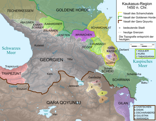 Map of Caucasus Region 1460. Caucasus 1450 map de.png