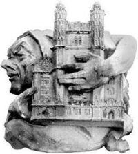 A stone grotesque on a CCNY building from 1906, holding a model of Shepard Hall.